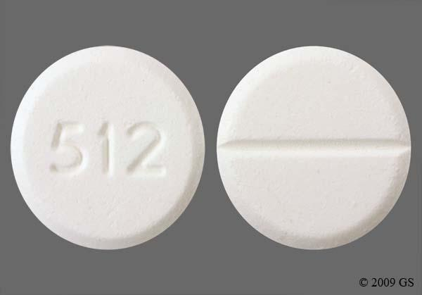 White Round 512 - Oxycodone Hydrochloride/Acetaminophen 5mg-325mg Tablet