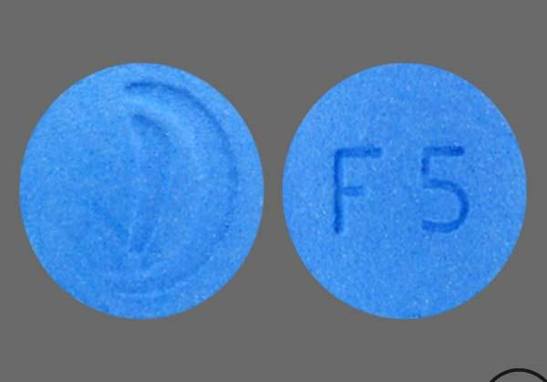 Blue Round F 5 And Logo - Finasteride 5mg Tablet