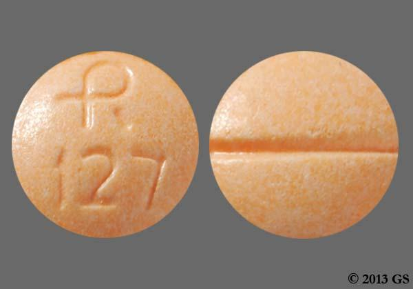Orange Round Logo 127 - Clonidine Hydrochloride 0.1mg Tablet