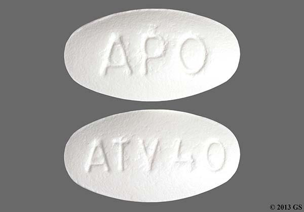 White Oval Atv 40 And Apo - Atorvastatin Calcium 40mg Tablet