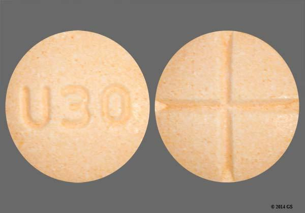 Orange Round U30 - Amphetamine/Dextroamphetamine Salts 20mg Tablet