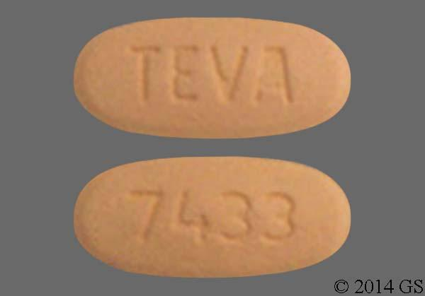 Orange Oval Teva And 7433 - Valsartan 160mg Tablet