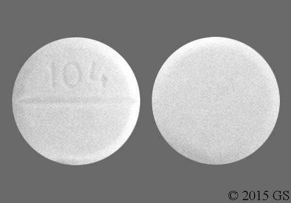 White Round 104 - Oxycodone Hydrochloride/Acetaminophen 5mg-325mg Tablet