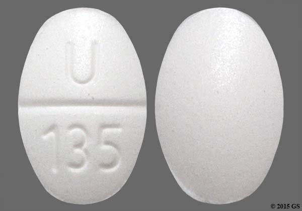 White Oval U 135 - Clonidine Hydrochloride 0.1mg Tablet