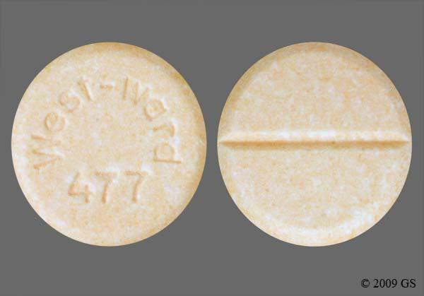 Peach Round West-Ward 477 - Prednisone 20mg Tablet