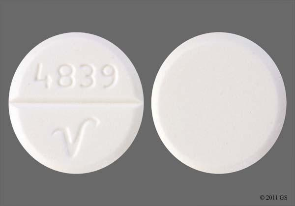 White Round 4839 V - Oxycodone Hydrochloride/Acetaminophen 5mg-325mg Tablet