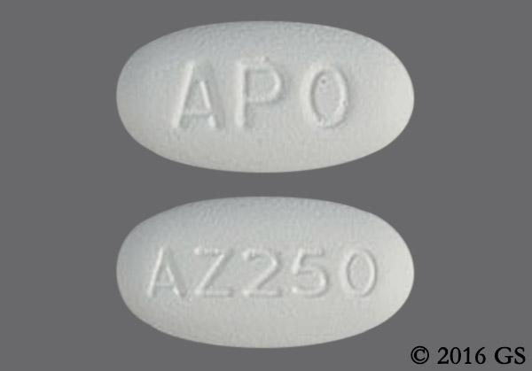 White Oval Apo And Az250 - Azithromycin 250mg Tablet (6ct Blister Card)