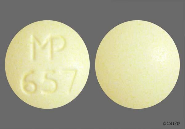 Yellow Round Mp 657 - Clonidine Hydrochloride 0.1mg Tablet