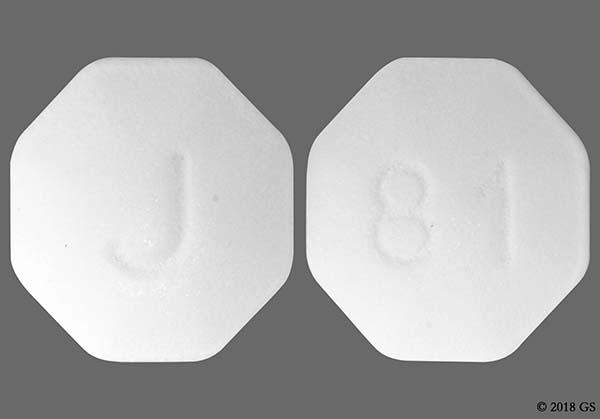 White Octagon J And 81 - Finasteride 1mg Tablet