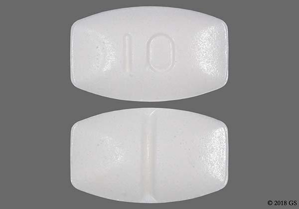 White Modified Rectangle 10 - Buspirone Hydrochloride 10mg Tablet