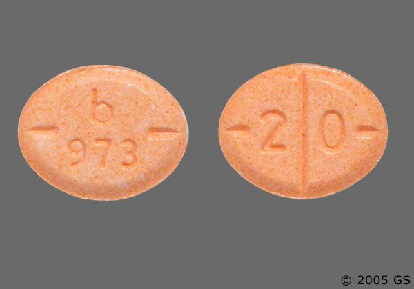 Peach Oval 2 0 And B 973 - Amphetamine/Dextroamphetamine Salts 20mg Tablet