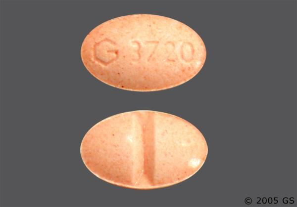 Peach Oval G 3720 - Alprazolam 0.5mg Tablet