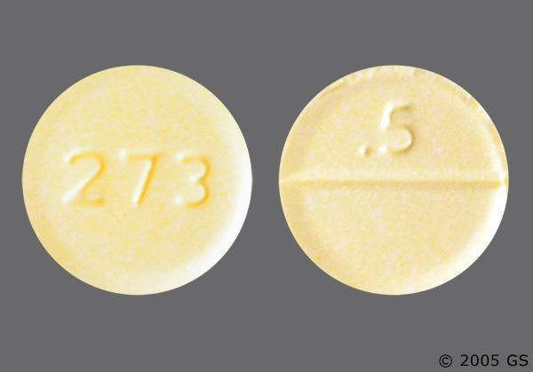 Yellow Round 273 And 5 - Clonazepam 0.5mg Tablet
