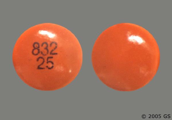 Brown Round 832 25 - Chlorpromazine Hydrochloride 25mg Tablet
