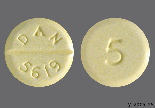 Yellow Round 5 And Dan 5619 - Diazepam 5mg Tablet