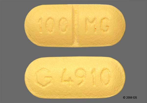 Yellow Oblong 100Mg And G 4910 - Sertraline Hydrochloride 100mg Tablet