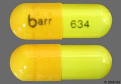 Yellow Capsule Barr 634 - Danazol 100mg Capsule