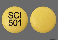 Yellow Round Tablet Sci 501 - Sular 17mg Extended-Release Tablet