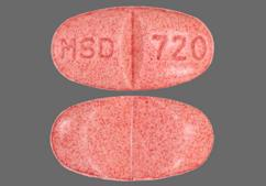 Red-Brown Oval Tablet Vaseretic And Msd 720 - Vaseretic 10mg-25mg Tablet