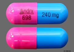 Blue And Pink Capsule Andrx 698 240 Mg - Taztia XT 240mg Extended-Release Capsule