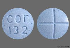 Blue Round Tablet Cor 132 - Amphetamine/Dextroamphetamine Salts 10mg Tablet