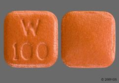 Red-Orange Square W 100 - Pristiq 100mg Extended-Release Tablet