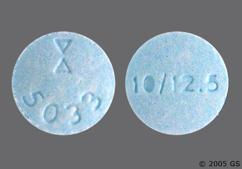Blue Round Tablet Logo 5033 And 10/12.5 - Lisinopril/Hydrochlorothiazide 10mg-12.5mg Tablet