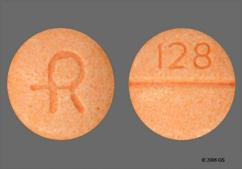 Orange Round Tablet 128 And Logo - Clonidine Hydrochloride 0.2mg Tablet