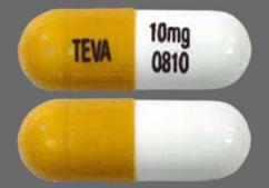 Orange And White Capsule 10Mg 93 810, Teva 10Mg 0810, And 93 810 93 810 - Nortriptyline Hydrochloride 10mg Capsule
