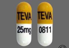 Orange And White Capsule Teva 25Mg Teva 0811 - Nortriptyline Hydrochloride 25mg Capsule