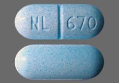 Blue Oblong Tablet Nl 670 - Pentazocine Hydrochloride/Acetaminophen 25mg-650mg Tablet