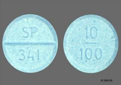 Blue Round Orally Disintegrating Tab Sp 341 And 10 100 - Parcopa 10mg-100mg Orally Disintegrating Tablet