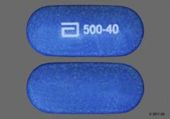 Blue Oblong Tablet Logo 500-40 - Simcor 500mg-40mg Extended-Release Tablet