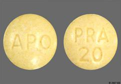 Yellow Round Tablet Pra 20 And Apo - Pravastatin Sodium 20mg Tablet