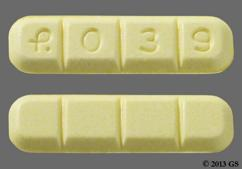 Yellow Rectangular Tablet Logo 039 - Alprazolam 2mg Tablet
