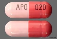 Pink And Red-Brown Apo 020 - Omeprazole 20mg Delayed-Release Capsule