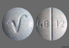 Blue Round Tablet 4812 And V - Oxycodone Hydrochloride 30mg Tablet