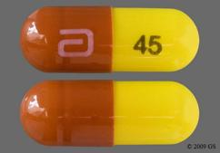 Yellow And Red-Brown Capsule Logo 45 - Fenofibric Acid 45mg Delayed-Release Capsule