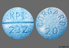 Blue Round Tablet Kpi 232 And Corgard 20 - Nadolol 20mg Tablet