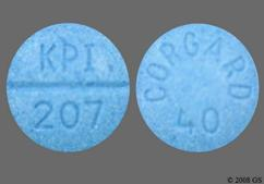 Blue Round Tablet Kpi 207 And Corgard 40 - Nadolol 40mg Tablet