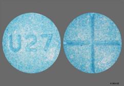 Blue Round Tablet U27 - Amphetamine/Dextroamphetamine Salts 10mg Tablet