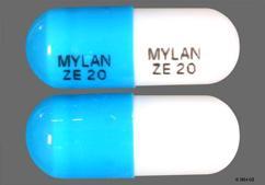 White And Blue Capsule Mylan Ze 20 Mylan Ze 20 - Ziprasidone Hydrochloride 20mg Capsule