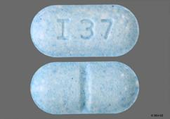 Blue Oblong I37 - Glyburide 5mg Tablet