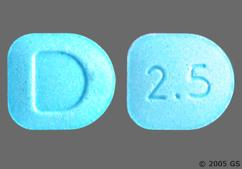 Blue D-Shaped Tablet D And 2.5 - Dexmethylphenidate Hydrochloride 2.5mg Tablet
