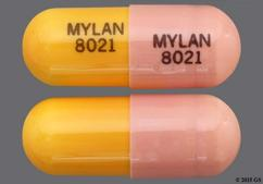 Orange And Pink Mylan 8021 Mylan 8021 - Fluvastatin Sodium 40mg Capsule