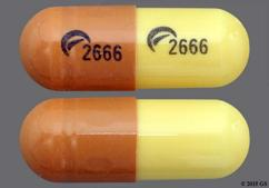Brown And Yellow Capsule Logo 2666 Logo 2666 - Gabapentin 300mg Capsule