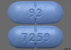 Blue Oblong 93 And 7259 - Valacyclovir Hydrochloride 1g Tablet