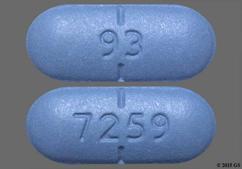 Blue Oblong Tablet 93 And 7259 - Valacyclovir Hydrochloride 1g Tablet