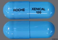 Blue-Green Roche Xenical 120 - Xenical 120mg Capsule