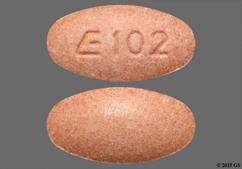 Peach Oval E 102 - Lisinopril 20mg Tablet